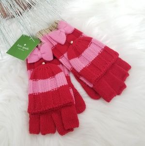 Kate spade gold, red, and pink bow gloves